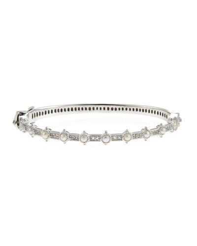 Delicate Lisse Pearl & White Topaz Bangle