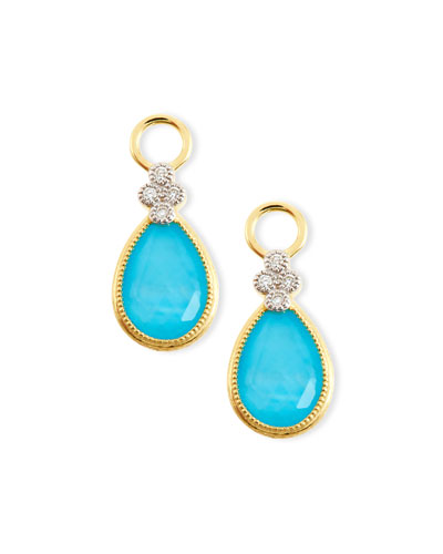 Provence Pear Turquoise Doublet Earring Charms with Diamonds