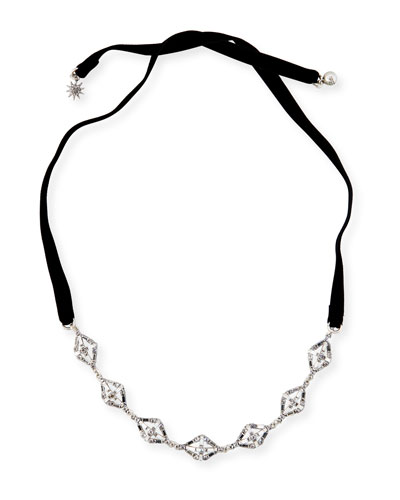 Proxima Velvet Choker Necklace, Silver/Black