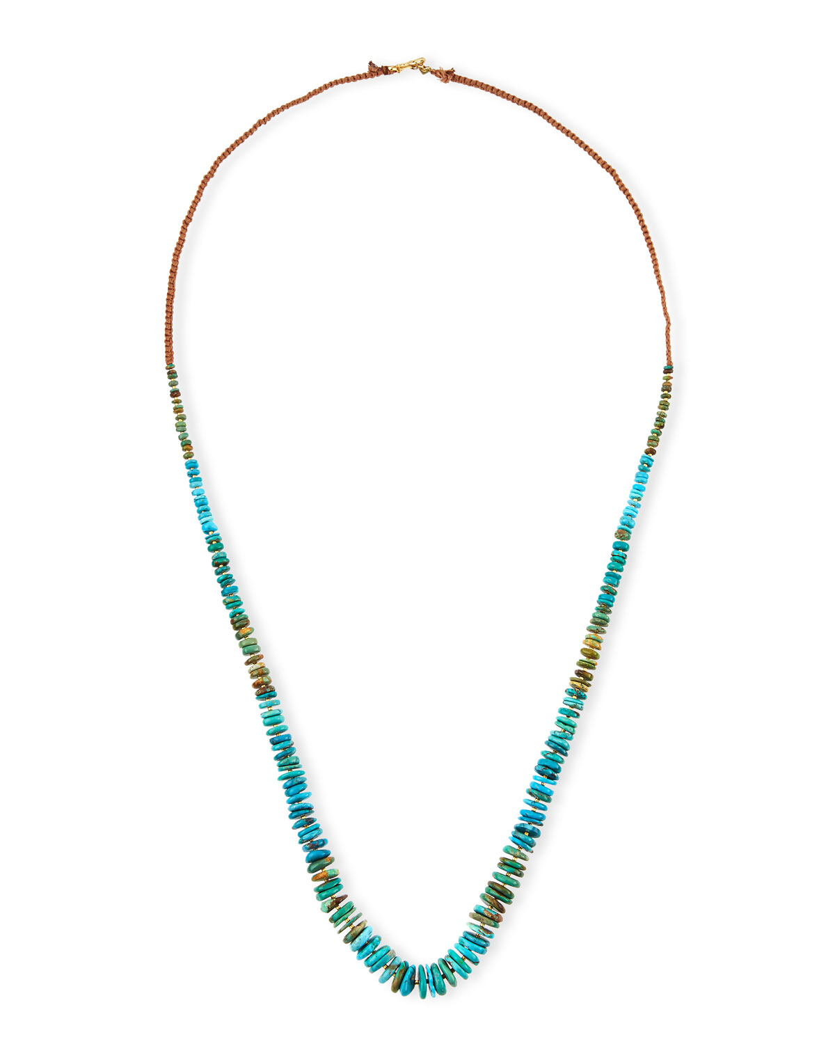 Long Turquoise Rondelle Necklace