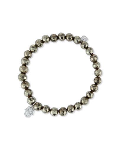 Champagne Pyrite Bead Bracelet w/14K Gold Diamond Hamsa Charm