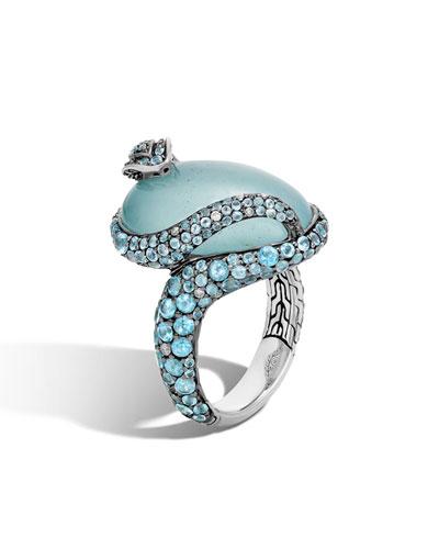 Legends Cobra Aquamarine & Diamond Ring with Diamonds, Size 7