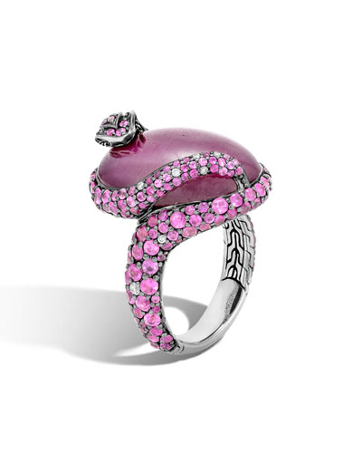 Indian Ruby & Pink Sapphire Cobra Ring with Diamonds