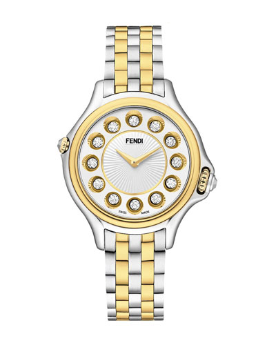 38mm Crazy Carats 18K Gold & Stainless Steel Watch, 0.04 tdcw