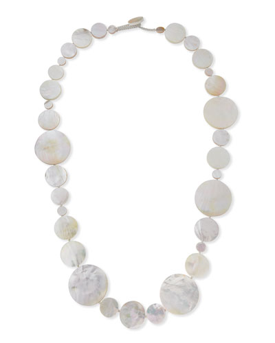 Long Mother-of-Pearl Disc Necklace, 42