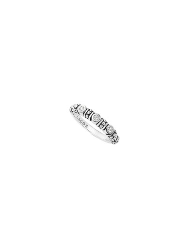 Bezel-Set Diamond & Caviar Stacking Ring, Size 7