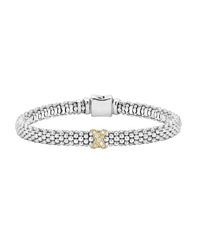 Caviar Rope Bracelet w/18K Diamond Wrap