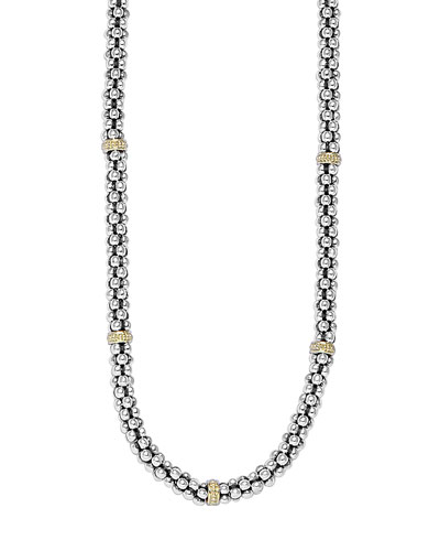 Sterling Silver & 18K Caviar Station Necklace, 16