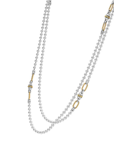 Superfine Caviar Two-Strand Necklace, 34