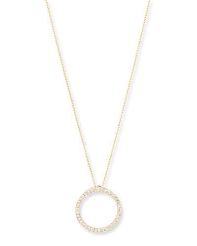 18K Gold Small Diamond Circle Necklace