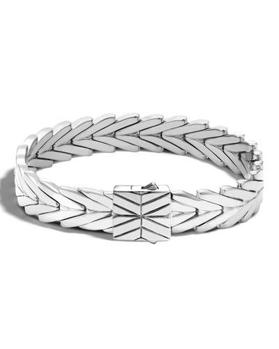 Modern Chain Medium Sterling Silver Rectangle Bracelet