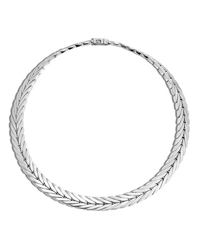 Sterling Silver Modern Chain Small Collar Necklace, 18