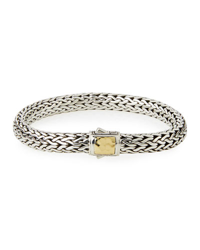 Classic Chain Silver & 18K Gold Bracelet, Size Medium