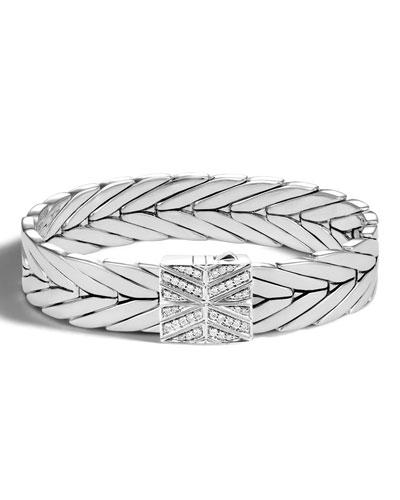 Modern Chain Silver 13mm Rectangular Bracelet with Diamond Clasp, Size M