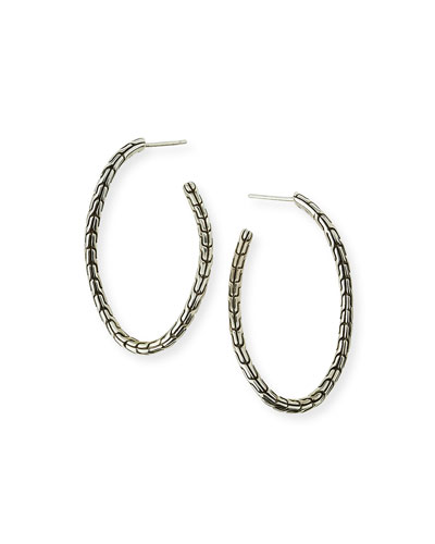 Classic Chain Sterling Silver Twisted Hoop Earrings