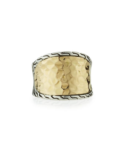 18K Gold & Silver Small Saddle Ring
