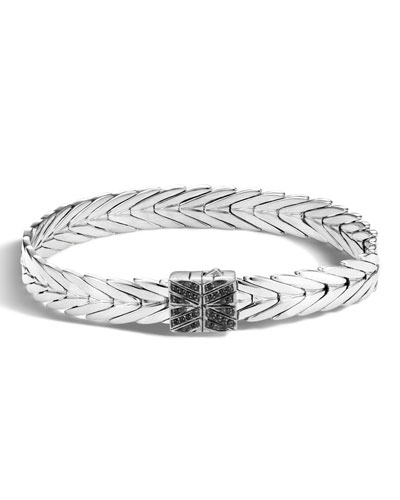 Modern Chain Silver Lava 8mm Bracelet with Spinel Clasp