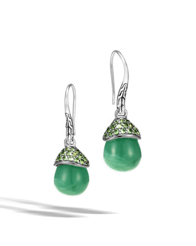 Batu Green Jade Briolette & Tsavorite Drop Earrings
