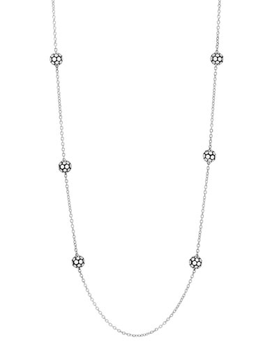 Dot Sterling Silver Ball Station Necklace, 36