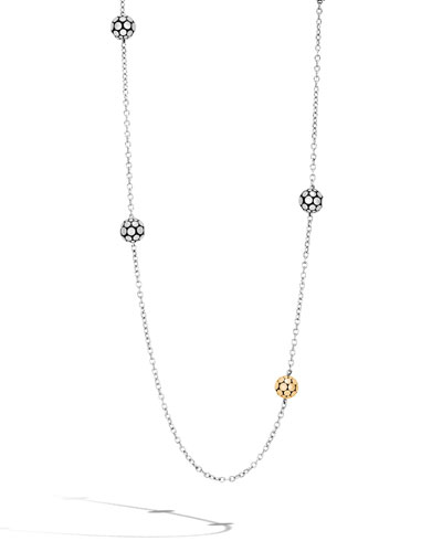 Dot Gold & Silver Ball Station Necklace, 36
