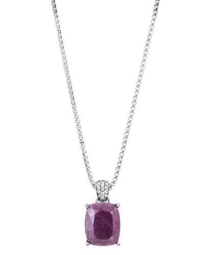 Batu Classic Chain Diamond & Ruby Pendant Necklace