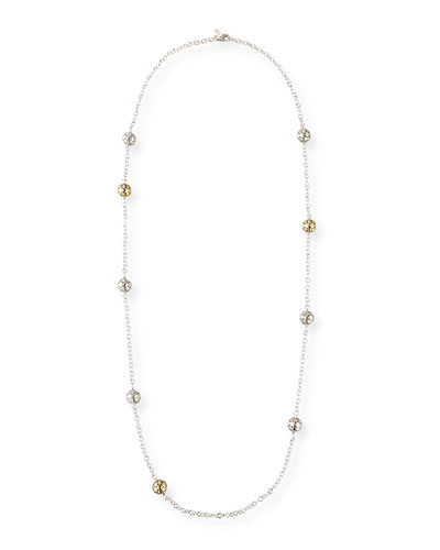 Dot Gold & Silver Large Ball Station Necklace, 36