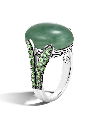 Batu Classic Chain Silver Ring with Oval Green Jade, Size 7