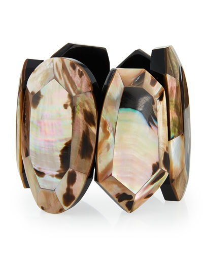 Faceted Mother-of-Pearl Statement Bracelet