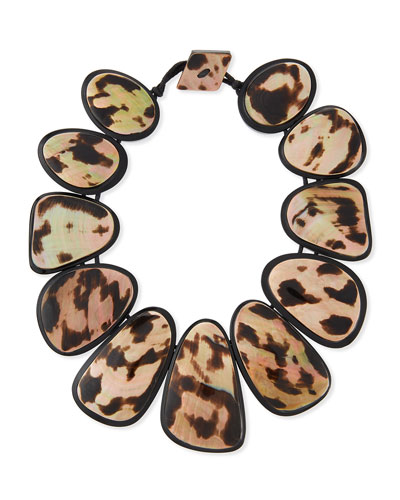 Resin Statement Collar Necklace, Leopard