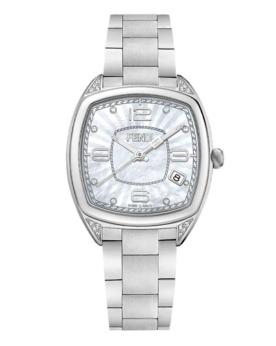 20mm Momento Fendi Stainless Steel Watch with Diamonds