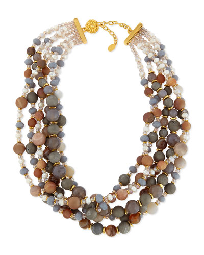 Gray & Peach Agate Twisted Strand Necklace
