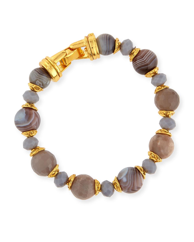 Gray Agate Beaded Bracelet