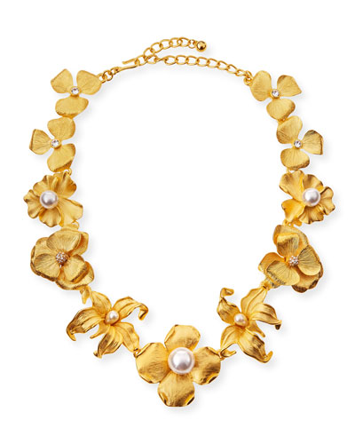 Golden Flower Statement Necklace with Pearly Beads