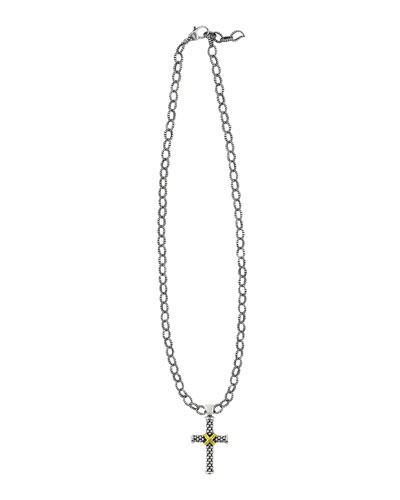 Small Caviar Cross Pendant Necklace