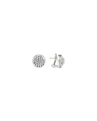15mm Caviar Bezel Button Earrings