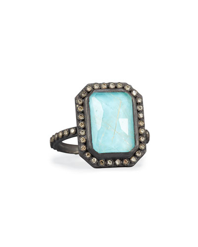 Old World Midnight Turquoise & Quartz Doublet Ring with Champagne Diamonds