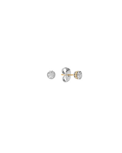 18K Gold Caviar & Diamond Stud Earrings