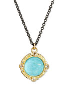 Old World Midnight Round Doublet Pendant Necklace with Diamonds