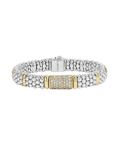 9mm Caviar & Diamond Station Bracelet