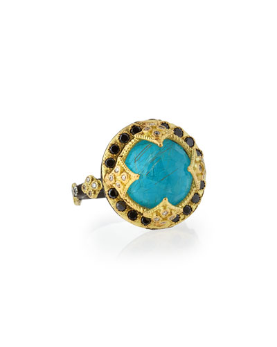 Old World Midnight 18K Gold Ring in Turquoise and Quartz