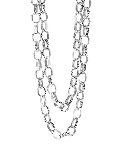 Mixed Link Caviar Necklace, 36