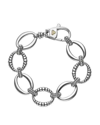 Smooth & Fluted Caviar Link Bracelet