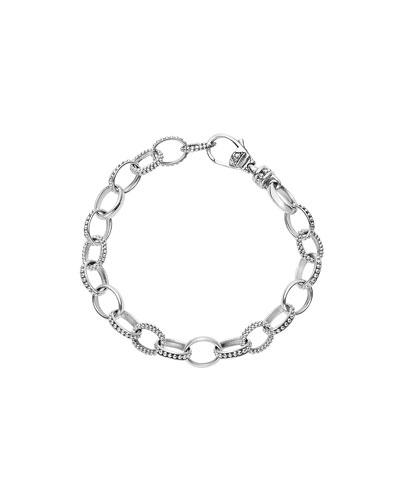 Sterling Silver Smooth/Caviar Link Bracelet