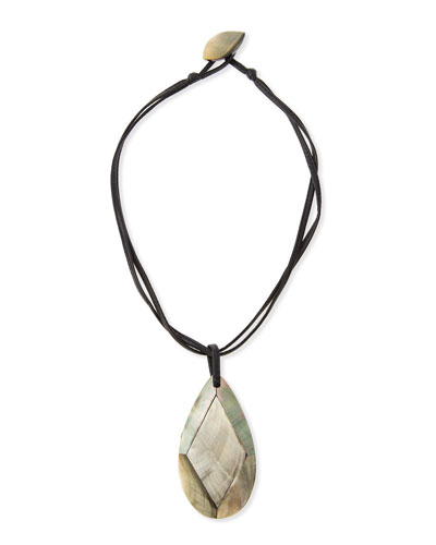 Faceted Mother-of-Pearl Pendant Necklace, Black