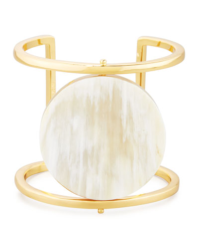 Blonde Horn Rotating Disc Cuff Bracelet, Gold