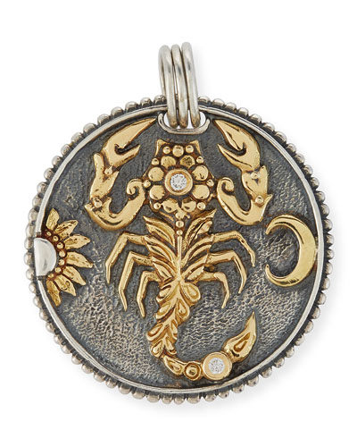 Scorpio Carved Zodiac Pendant with Diamonds