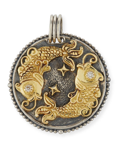 Pisces Carved Zodiac Pendant with Diamonds