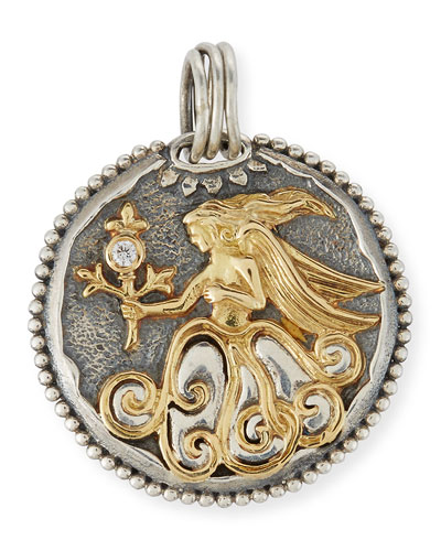 Virgo Carved Zodiac Pendant with Diamond