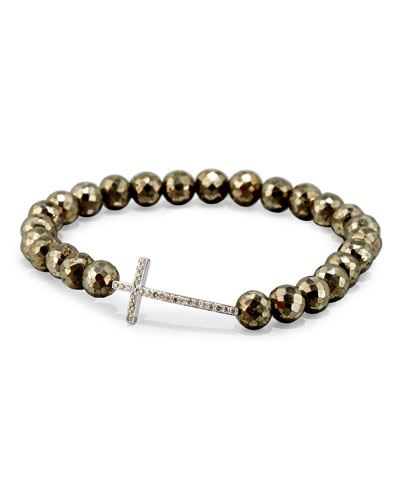 Faceted Champagne Pyrite Bead Bracelet with Diamond Cross Station