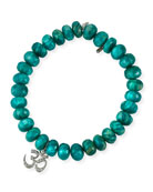 Beaded Green Amazonite Bracelet with Diamond Om Charm